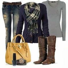 What I Wore - Casual and Comfy Everyday Fall or Winter outfit Love the scarf and sweater Fashion Moda, Look Fashion, Fashion Outfits, Womens Fashion, Fashion News, Outfits 2014, Teen Fashion, Woman Outfits, Feminine Fashion