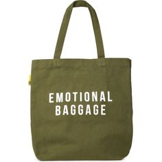 POLITE LTD Emotional baggage tote bag (13.085 HUF) ❤ liked on Polyvore featuring bags, handbags, tote bags, tote handbags, handbags tote bags, green handbags, tote bag purse and green tote handbag