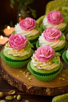 Use a green pistachio cupcake as the base for these gorgeous rose-topped cupcakes. Get the recipe: pistachio cupcakes Spring Cupcakes, Fancy Cupcakes, Yummy Cupcakes, Cupcake Cookies, Wedding Cupcakes, Tolle Cupcakes, Pistachio Cupcakes, Pineapple Cupcakes, Cupcakes Decorados