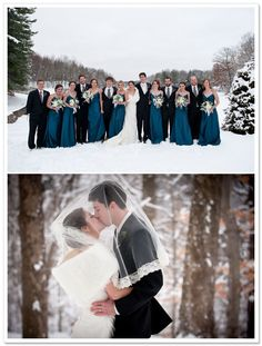Jenny Yoo Bridesmaid Dresses. This is cute for a winter wedding but I LOVE the color of those bridesmaid dresses!!!