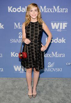 Kiernan Shipka wears a Max Mara dres at the Crystal + Lucy Awards.