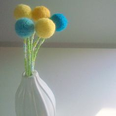 Pom pom flowers Spring flower bouquet  Turquoise by berryisland, $25.00