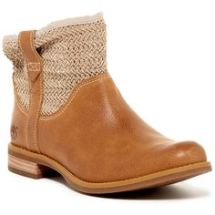 Timberland Savin Hill Pull-On Boot (105 CAD) ❤ liked on Polyvore featuring shoes, boots, ankle booties, ankle boots, wheat, slip on boots, synthetic leather boots, low heel boots, pull on boots and faux-leather boots