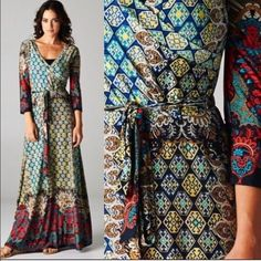Medallion Border Maxi Dress multicolor Faux wrap upper. High-waist sash. Wrinkle free fabric consists of 94% polyester, 6% spandex. Three quarter sleeves. Brand new retail w/o tags. Fit runs small. See numerical size conversion approximations. Images 4 shows true color. Made in U.S.A.. No trades/holding/offsite payment. Sizes S(0-2), M(4-6), L(8-10) XL(12), 2XL(12-14), 3XL(14-16) ⚠️Confirm size availability       PRICE IS FIRM UNLESS BUNDLED Dresses Maxi