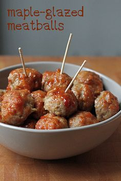 maple-galzed meatballs by awhiskandaspoon, via Flickr