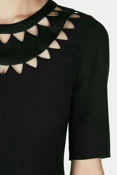 No matter how innovative, Altuzarra designs are polished and elegant in a way that never goes out of style. This black crepe dress has a lean… designs Minnie Dress - Black Neck Designs For Suits, Sleeves Designs For Dresses, Neckline Designs, Back Neck Designs, Blouse Neck Designs, Sleeve Designs, Dress Designs, Kurti Sleeves Design, Kurta Neck Design