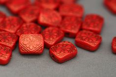 30 Etched Tomato Red Gold Acrylic Rectangle by ReductionNation