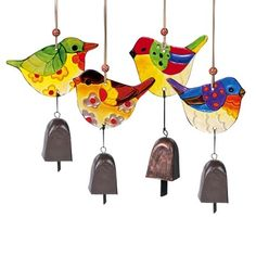 $10.00  Grasslands Road-Painted Glass Bird & Metal Cow Bell Windchime Mobile
