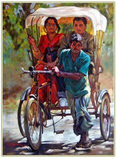 rickshaw puller by shankar kadakuntla Watercolor Paintings For Beginners, Watercolor Landscape Paintings, Watercolor Art, Om Namah Shivaya, Indian Art Gallery, Poster Color Painting, Indian Illustration, Art Village, Indian Folk Art