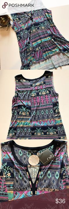 """Large printed sleeveless top with unique details Pretty in pink (and purple, blue and turquoise) soft printed top with stitching details at neck and nice gathers in material in center at bottom. Pit to pit 19 3/4"""", drop from shoulder to hem in front approx 27"""" then in back approx 31"""" rxb Tops"""