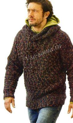 Мужской меланжевый пуловер с капюшоном