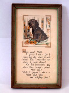 VINTAGE BUZZA MOTTO PRINT *MISS YOU* WITH SWEET TERRIER DOG