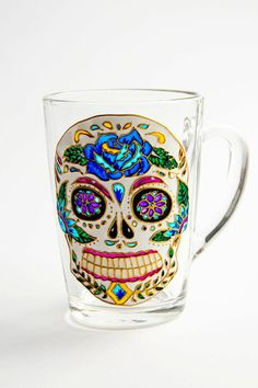 Gorgeous!!!!! Those colors!!! Sugar Skull Mug Day of the Dead Mexican Folk Art Mug by Vitraaze #DayoftheDead