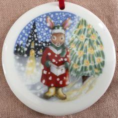 Royal Doulton Bunnykins 1992 Christmas Tree Ornament 2.75 inch plus Red Ribbon