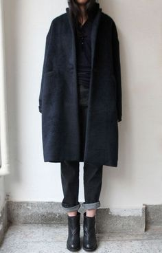 Black Overcoat, Dark Wash Boyfriend Jeans, Denim, Ankle Boots, Black Shirt