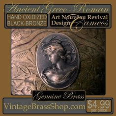 LOVELY LARGE REPOUSSE STYLE ORNATE #BRONZE #BRASS #CAMEO    Qualifies for $2.59 MAX USA Shipping w/ free add-ons of 175+ items in shop.    This gorgeous cameo combines elements of Art Nouveau and Neo Classical design.     Her laurel leaf wreath head dress suggests elements of anceient #Roman and #Greek periods as well.    Lightweight repousse style with hollow back.     #Hand #oxidized with #deep #brown to brown #black #patina    This is a fairly #large cameo measuring 36mm by 27mm oval…