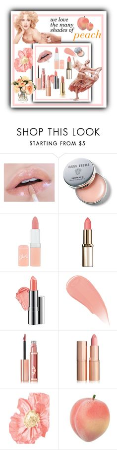 """""""The Many Shades Of Peach"""" by farradaymg ❤ liked on Polyvore featuring beauty, Bobbi Brown Cosmetics, Rimmel, L'Oréal Paris, Chantecaille, Charlotte Tilbury, Too Faced Cosmetics and peachlipstick"""