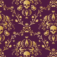 Purple and Gold Damask distressed fabric by elizabeth on Spoonflower - custom fabric
