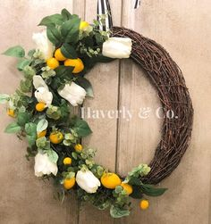 DIY Lemon and Tulip Twig Wreath//Lemon Decor//Spring Wreath//Summer Wreath//Door Swag//Door Decor//Spring Decor//Summer Decor