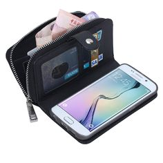 Litchi Grain Wallet Case Card Zipper Leather Case Phone Cover for Samsung Galaxy S6 Edge