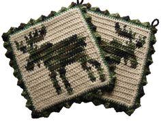 Moose Pot Holder Set. Large camouflage crochet pot holders.