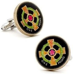 Ox and Bull Trading Co. Hand Painted Irish Cross Coin Cufflinks.