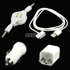 $2.01 White USB AC wall +Car Charger +Data Cable +Aux Cable For IPod Touch iPhone