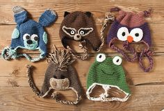 Domestic Zoo of Crochet Animals Hats Pattern