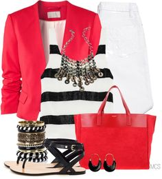"""""""Red, white and black"""" by mclaires ❤ liked on Polyvore"""