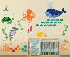 Ocean Friends Under the Sea Nursery Vinyl Wall by InAnInstantArt, $140.00