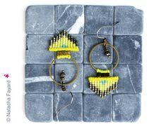 Neon yellow and bronze - Woven hoops dangle earrings made of micro macrame and…