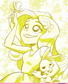 Fluttershy Art this is from Rainbow Rocks! all this art is GREAT! And It's alot alike to what human ponies are supposed to look like