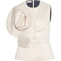 Shop Pencil Dress with Flower. This **Delpozo** dress features an off the shoulder neckline, three quarter length sleeves, and a pencil midi skirt. Pink Tops, White Tops, Collor, Delpozo, Event Dresses, Polyvore Fashion, Marie, Ideias Fashion, Peplum