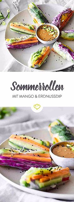 Vegan summer rolls with mango and peanut dip - What Vegans Eat - Vegane Rezepte - Salad Recipes Healthy Salad Recipes Healthy Lunch, Healthy Grilling Recipes, Salad Recipes For Dinner, Chicken Salad Recipes, Clean Eating Recipes, Beef Recipes, Salads For A Crowd, Easy Salads, Food For A Crowd