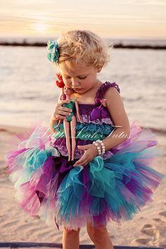 The Chloe Mermaid Tutu - Turquoise, Teal, Lavender, and Purple Tutu - Birthday Tutu, Photography Prop (Sizes Newborn to 4T)