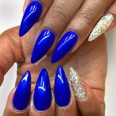 Combo Royal Blue and Gold Glitter on Stiletto Nails. Amazing Ideas With Gold Glitter For Luxe Nails #naildesignsjournal #nails #goldglitter