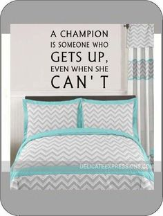 """""""A champion is someone who gets up, even when she can't"""" Vinyl lettering wall decal for girls. Great for sports themed room: Basketball, tennis, soccer, softball, wrestling and more"""