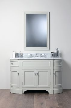 Porter specialises in beautiful bathroom vanities we use the finest raw materials, sourced with great care, brought to you simply and honestly, with style and functionality. Painted Vanity, Kitchen Inspirations, Beautiful Bathroom Vanity, Interior Design Inspiration, Gray Interior, Bathroom Design, Beautiful Bathrooms, Bathroom Essentials, Downstairs Toilet