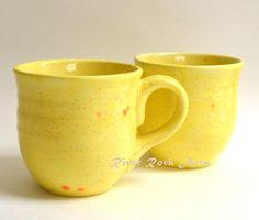 Large Ceramic Mugs Lemon Yellow Speckled Set of 2 on Handmade Artists' Shop