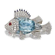 AQUAMARINE AND DIAMOND FISH BROOCH