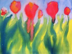 Student art!  City School Waldorf Los Angeles, Tulips.