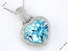 Women's Diamond & Blue Topaz Necklace in 14K White Gold (7.64 ctw)