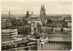 1920-1935, Odra - ujście Oławy, przystań przy Wybrzeżu Słowackiego Old Pictures, Funny Pictures, Bridge Engineering, Genius Loci, Prussia, Beautiful Buildings, Tower Bridge, Poland, Paris Skyline