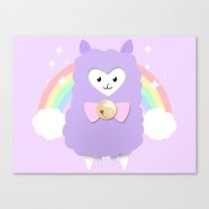 Sparkly Alpaca Rainbow. Inspired by the Amuse Alpacasso line of plushies, a fluffy purple alpaca with a pink bow and a bell stands in front of a sparkly pastel rainbow. Get it on prints and products on Redbubble and Society6.