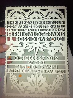 Laser Cut Papel Picado invitation on luxe cream paper by Avie Designs. Customer added kraft envelopes, pink string and custom name tags. For an engagement party.