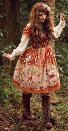 Loving the colors and her cute deer printed dress
