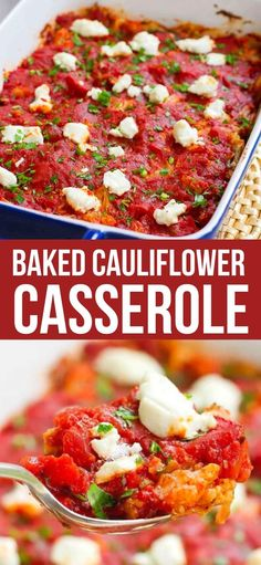 Cauliflower has never tasted so good! This Baked Cauliflower Casserole gets a hit of tangy flavor from melted goat cheese. 128 calories and 2 Weight Watchers SP | Recipes healthy | Cheesy | Side Dish | Side dishes #cauliflowerrecipes #cauliflowercasserole #weightwatchers #sidedishrecipes #easysides Low Carb Side Dishes, Side Dish Recipes, Veggie Recipes, Vegetarian Recipes, Chicken Recipes, Baked Cauliflower Casserole, Cauliflower Recipes, Grilling Recipes, Crockpot Recipes