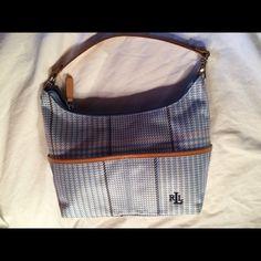 Ralph Lauren Blue & Tan Plaid Handbag Great Condition Signature Plaid Monogrammed Ralph Lauren Bags Shoulder Bags