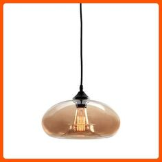 Amber Glass 1-Light Pendant Lamp with 1 Vintage Edison Style Bulb, Greenwood Collection, Sphere Shape Ceiling Fixture, UL Listed - Unique lighting lamps (*Amazon Partner-Link)