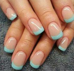 TRENDY NAIL ART 2014 nail art style 2014 perfect just my type I just did my nails like this. Love Nails, How To Do Nails, Pretty Nails, Fun Nails, Teal Nails, Tiffany Blue Nails, Sky Blue Nails, Mint Green Nails, Azul Tiffany